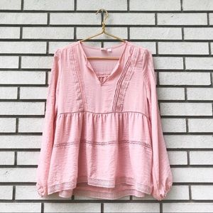 GAP Light Pink Lace Tiered Long Sleeve Top